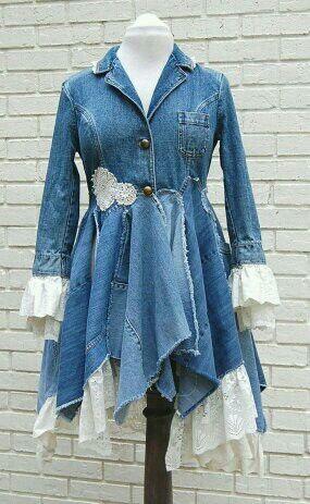 Long feminine denim coat