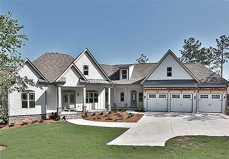 Split Bed Craftsman with Angled Garage - 36055DK | Craftsman, Traditional, Luxury, Photo Gallery, Premium Collection, 1st Floor Master Suite, CAD Available, Media-Game-Home Theater, PDF, Split Bedrooms, Sloping Lot | Architectural Designs