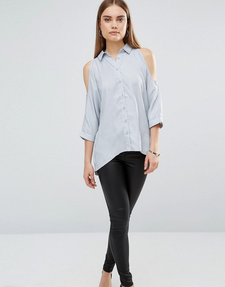 Buy it now. AX Paris Cold Shoulder Shirt - Silver. Top by AX Paris, Lightweight woven fabric, Spread collar, Cold-shoulder cut, Button placket, High-low hem, Split back, Longline cut, Relaxed fit, Hand wash, 100% Polyester, Our model wears a UK 8/EU 36/US 4 and is 179cm/5'10.5. , tophombrosdescubiertos, sinhombros, palabradehonor, topestilopañuelo, offshoulders, tube, offtheshoulder, coldshoulder, bardot, cutout, bandeau. Silver Ax paris  top off shoulder  for woman.