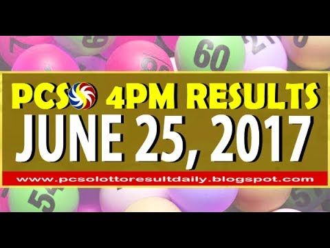 PCSO 4PM (Official) LOTTO RESULTS JUNE 25, 2017 (SWERTRES & EZ2 LOTTO)