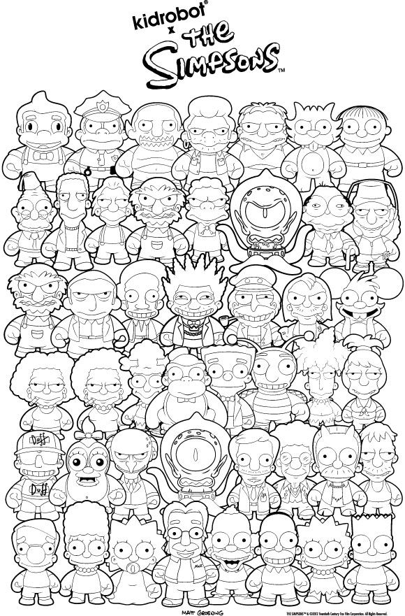 kidrobot simpsons figures coloring page - Printable Simpsons Coloring Pages