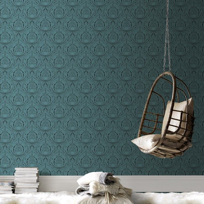Barock Tapete Dunkelblau : Turquoise and Brown Wallpaper