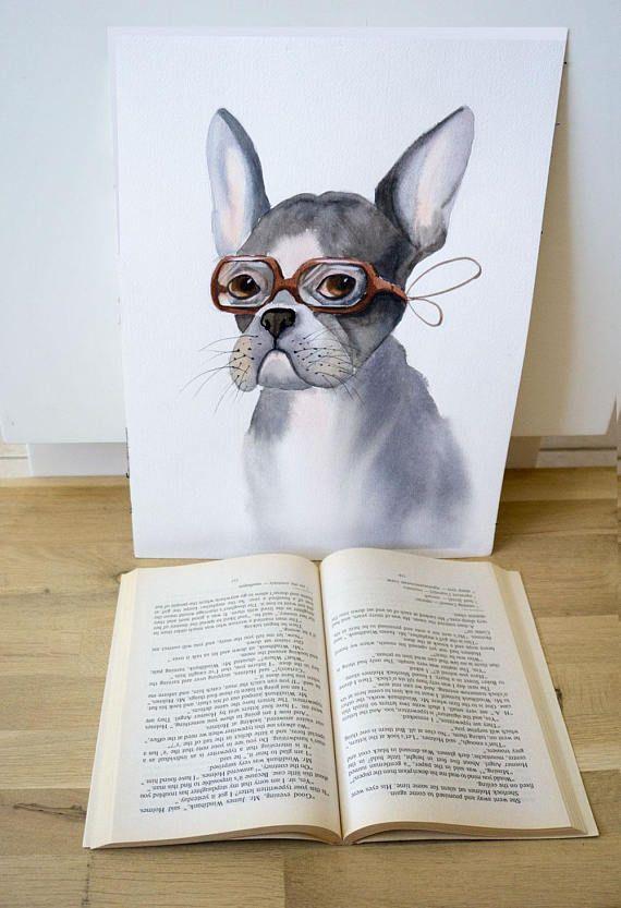 Whimsical dog art Original Watercolor Painting watercolor