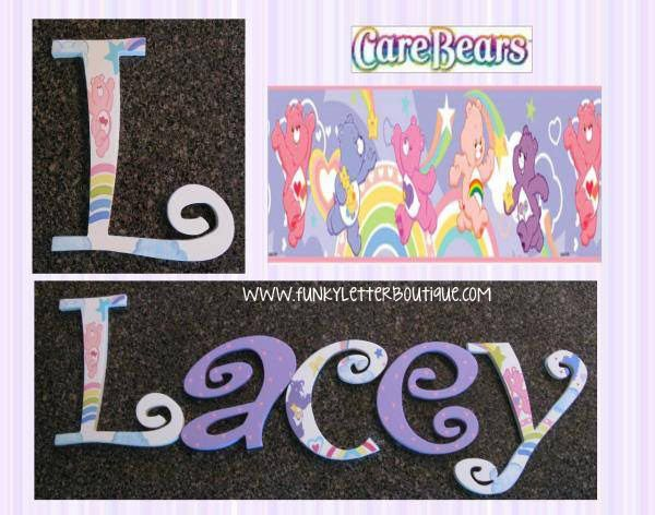 custom hand painted letters/ girls hand painted nursery letters/ care bear  wall letters/