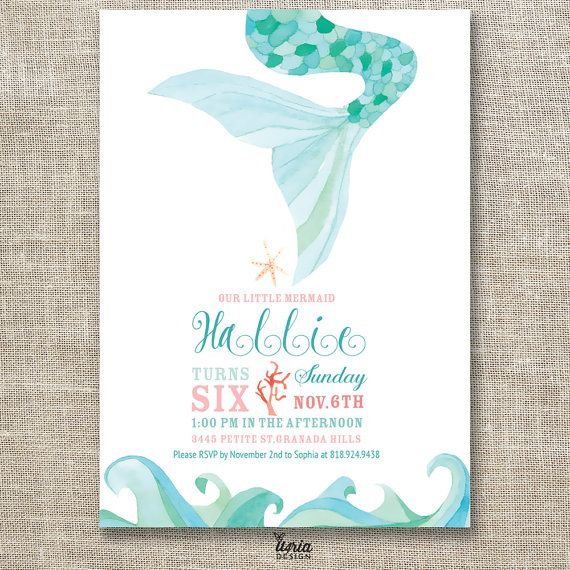67 best shark mermaid birthday party images on pinterest this is a custom watercolor little mermaid themed birthday invitation the design consists of a filmwisefo