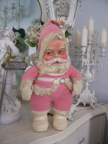 "(1) VINTAGE COLLECTIBLE SHABBY PINK RUSHTON SANTA CLAUS FIGURINE DOLL-""AS IS"""