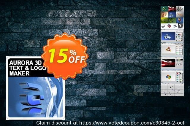 Aurora 3D Text & Logo Maker Coupon 15% discount code, May