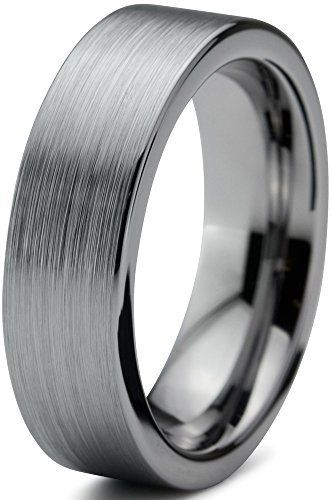 Tungsten Wedding Band Ring 6mm for Men Women Comfort Fit Flat Pipe Cut Brushed Lifetime Guarantee, http://www.amazon.com/dp/B00KIW6CGQ/ref=cm_sw_r_pi_awdm_UDM0wb1H5GHPN