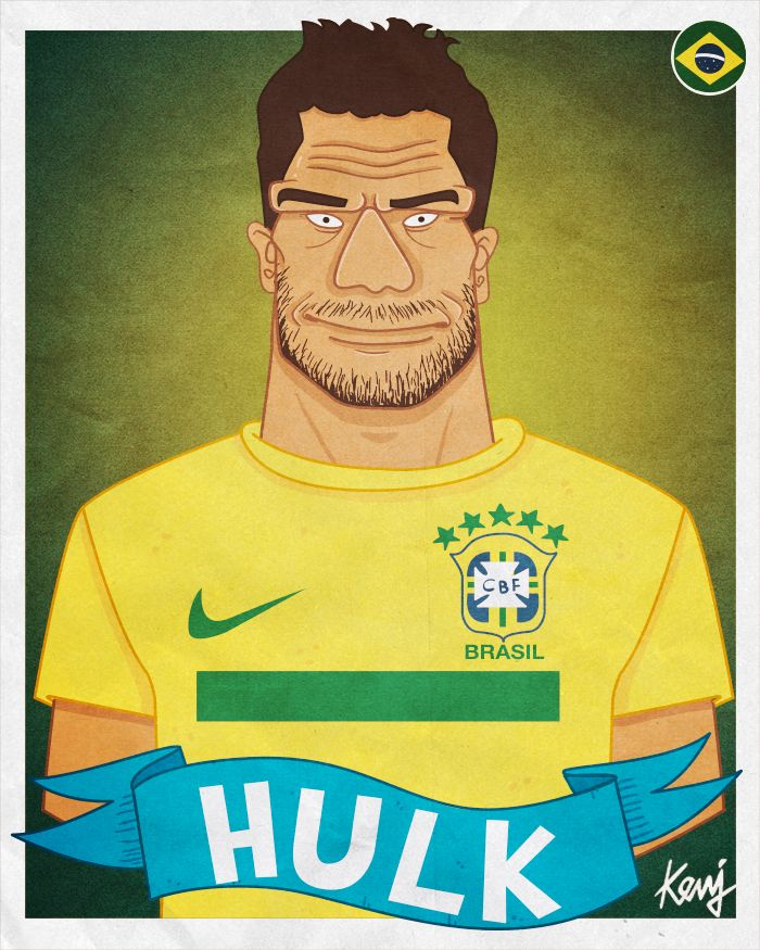 Hulk Brazil Football: Fifa World Cup 2014 Teams Caricatures