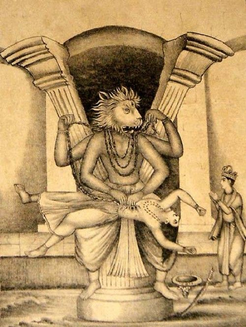 Narsimha(half lion and half man incarnation)