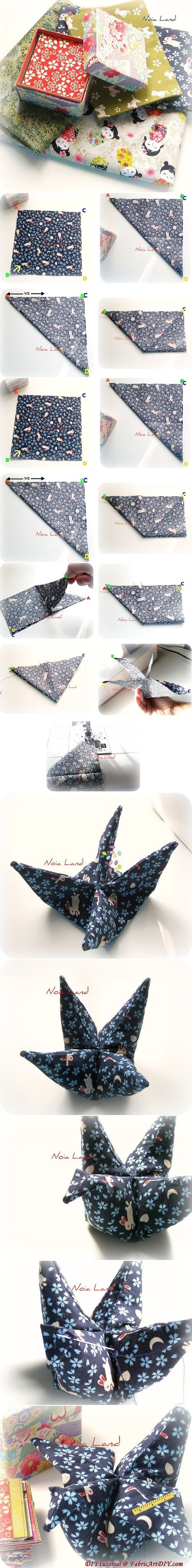 fabric origami crane instructions