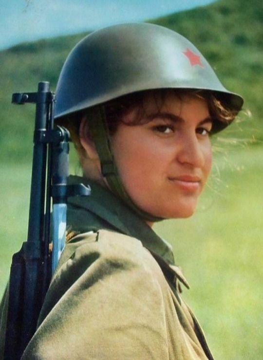 Female soldier of the Albanian People`s Army.