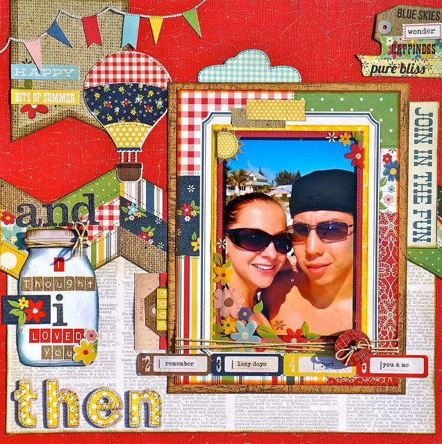 "Scrapbook layout using Simple Stories ""Summer Fresh"" paper"