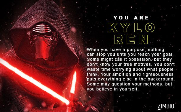 I took Zimbio's 'Star Wars: The Force Awakens' character quiz and I got Kylo Ren. Who are you? - Quiz