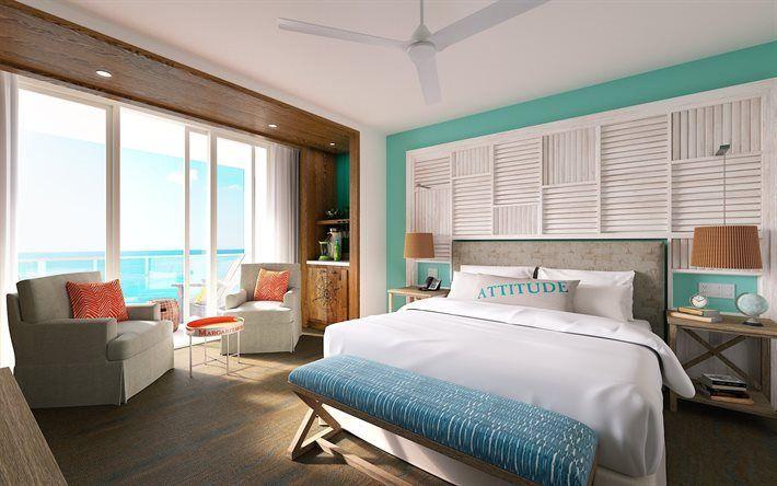Scarica sfondi camera da letto interni, design moderno, pannelli in legno, pareti blu, camera da letto