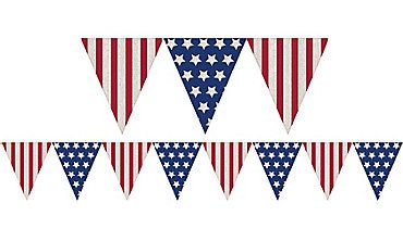 American Flag Burlap Pennant Banner