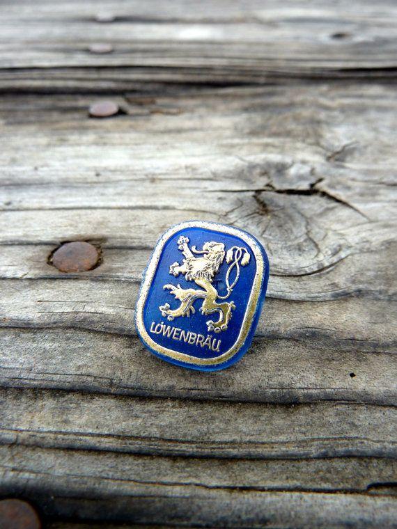 Lowenbrau beer pin made of plastic German brewery by OatesGeneral