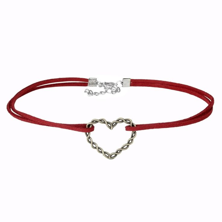 Red Velvet Double Choker Necklace with Heart Pendant