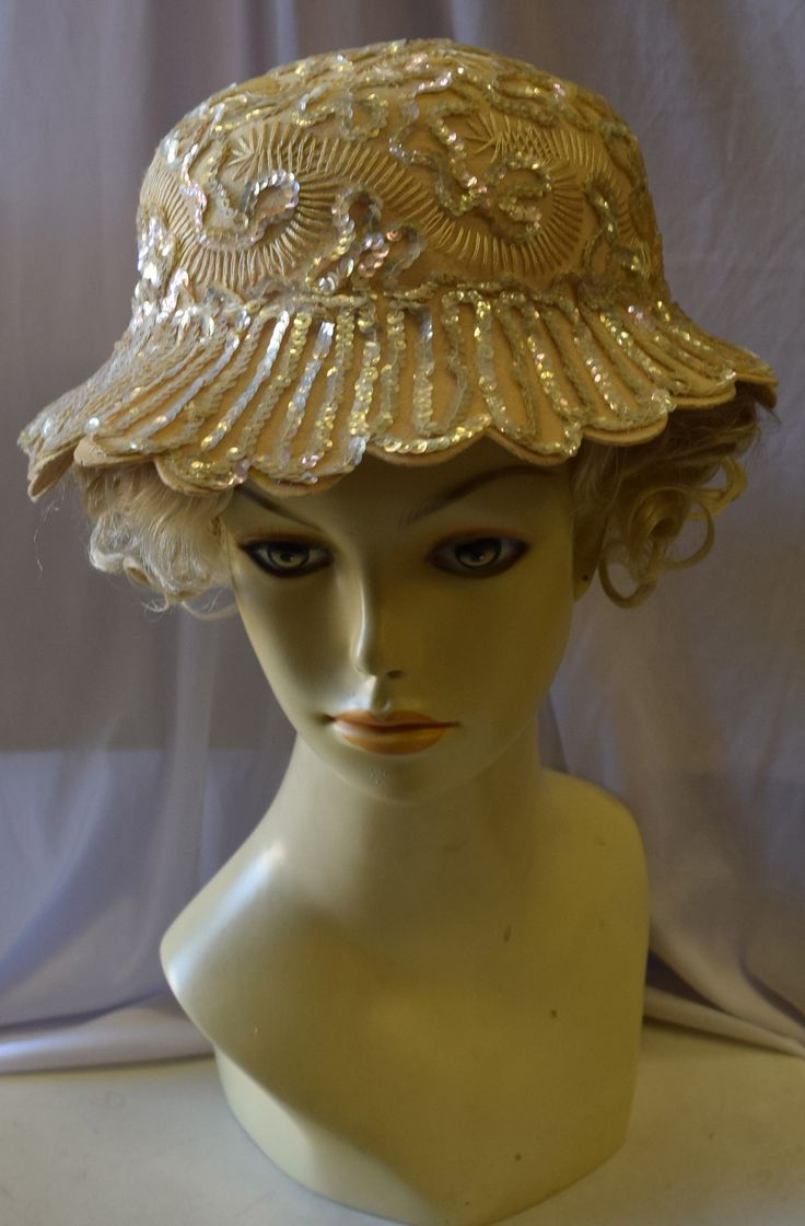 Vintage 1920's Inspired Beige Fancy Summer Hat
