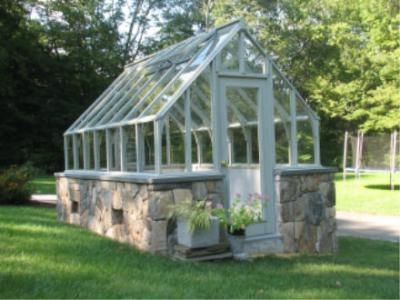 Green house with stone foundation, love!