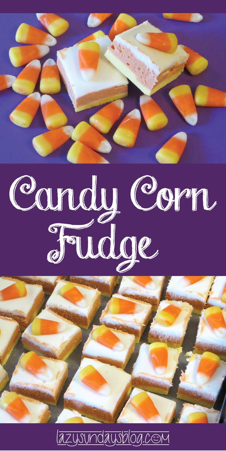 This Candy Corn Fudge is a super cute and sugar-filled way to celebrate Halloween! With no baking and just a few ingredients, this is an easy one too. #candycornfudge #halloween #desserts #sweets #treats