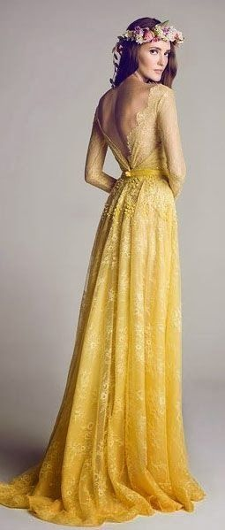 Dresses for the bridesmaids or the bride! Mustard color long-sleeved lace dress