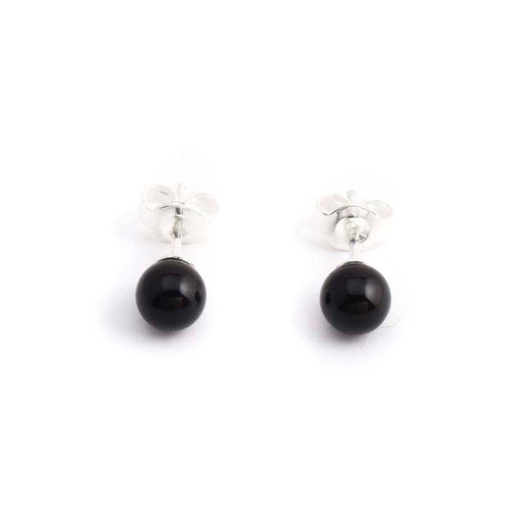 Krikor Zwarte parel oorknopjes met 6 mm mystic black pearl Swarovski pareltje