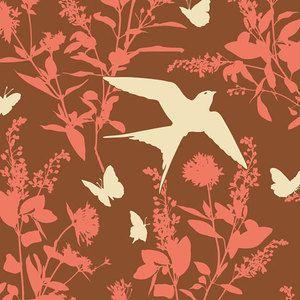 Joel Dewberry - Bungalow Rayon - Swallow Study Rayon in Chestnut