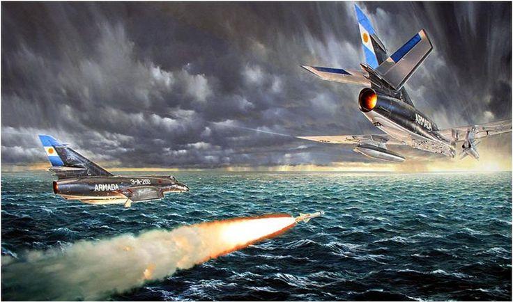 Misil Exocet - Dos Súper Etendard argentinos uno de ellos el 3-A-202 del capitan de Corbeta Bedacarratz, atacan el 4 de mayo (el HMS Sheffield golpeado se hundió el 10 mayo).