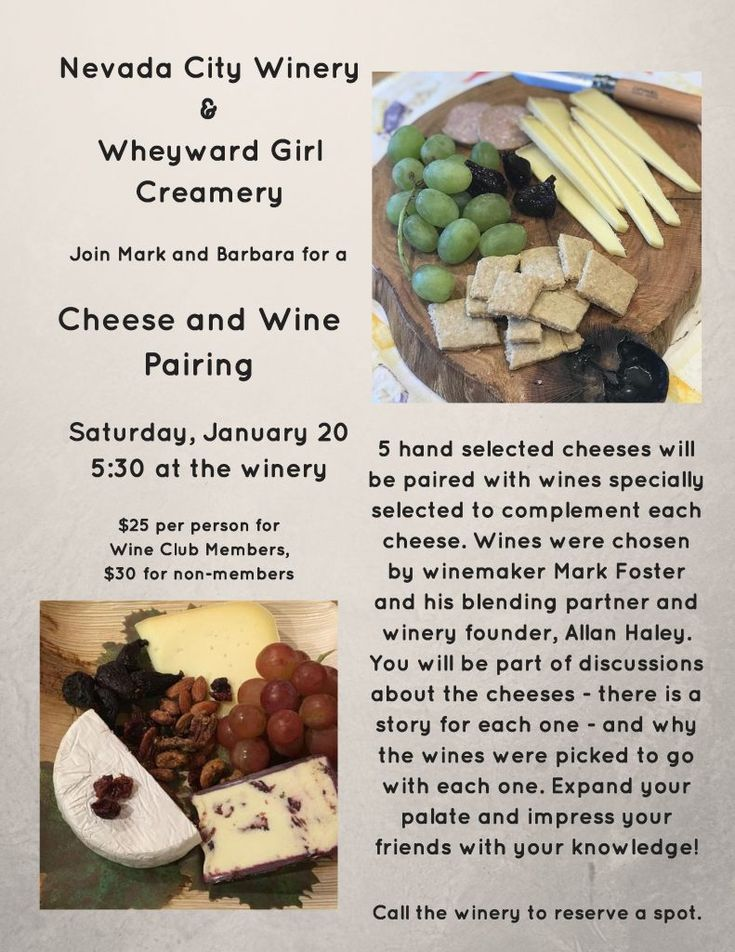Nevada City Winery & Wheyward Girl Creamery Cheese and Wine Pairing, Sat, Jan 20th, 5:30pm