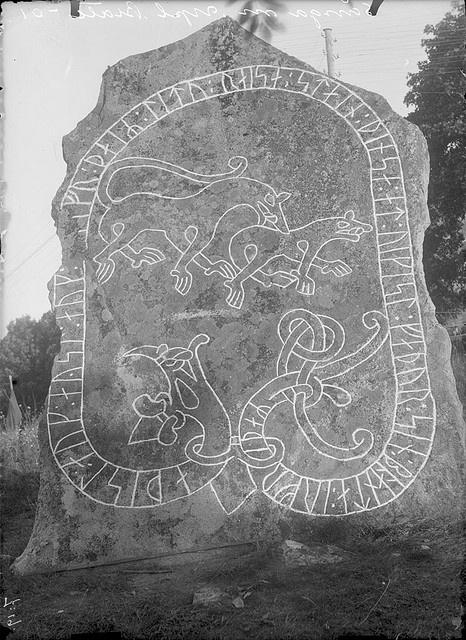"""Rune stone, Svartsjö, Uppland, Sweden    Rune stone (U 35) in Svartsjö. The inscription says: """"Adils and Ösel and Olov they had this stone carved in memory of Vigisl, their father, the husband of Ärnfrid"""".    Runsten (U 35) i Svartsjö. Ristningen säger: """"Adils och Ösel och Olov de läto rista denna sten efter Vigisl, sin fader, Ärnfrids make"""".    Parish (socken): Sånga  Province (landskap): Uppland  Municipality (kommun): Ekerö  County (län): Stockholm    Photograph by: Erik Brate  Date: 1910"""