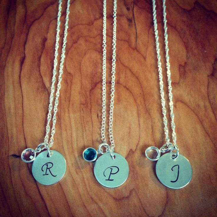 Stamped Initial & Birthstone necklaces. *Great for #wedding gifts for the bridesmaids
