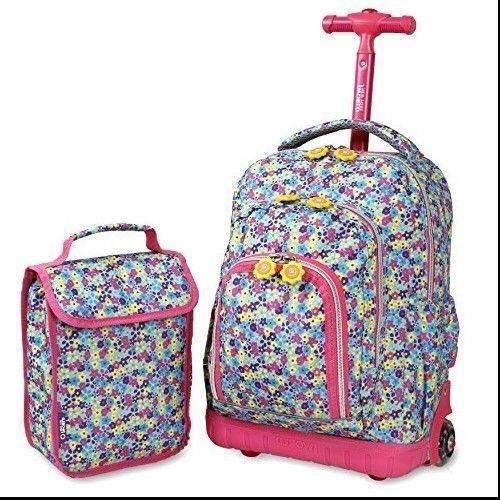 Girls Rolling Backpack Kids School Lunch Bag Wheels Padded Straps Pink Roller #JWorldNewYork