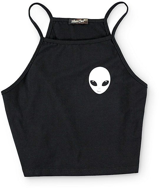 Crafted with a stretchy tight construction and a cropped torso for a flattering fit, this black crop top features a small alien face graphic at the chest for far out look.