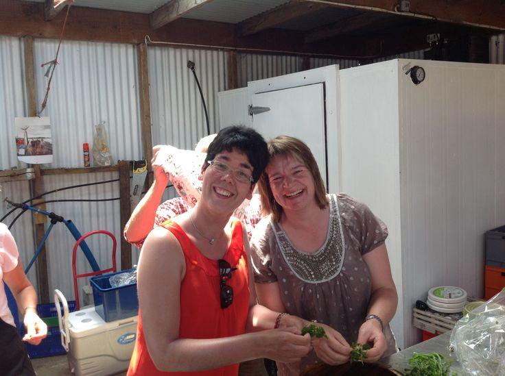 Lena and Ulli. Green Salad prep