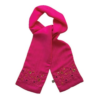 A 100% silk scarf with beautiful hand embroidered and sequinned floral detail...perfect for a dash of glamorous colour