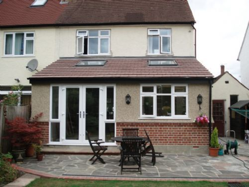 real slate lean to roof extension with velux windows - Google Search