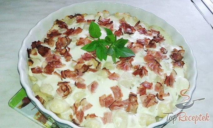 Krumplis nudli szalonnával és juhsajttal