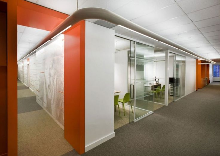 Orange office interior for wall combined by white color for Beautiful modern office design