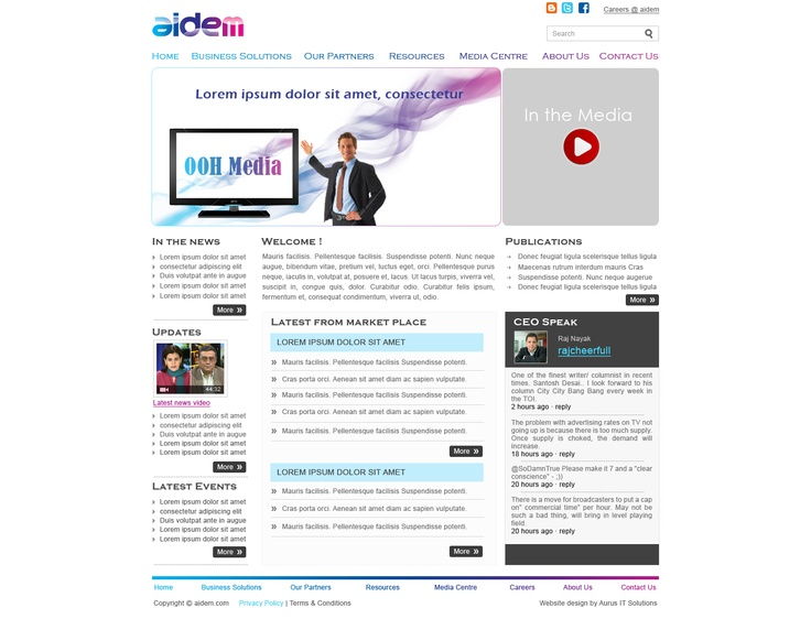 Aidem Media Corporate Website servicing Industry leading channels such as NDTV, Zee, etc.
