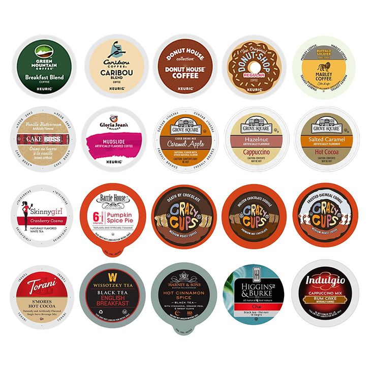 Custom Variety Pack Sampler Coffee, Cappuccino, Tea, Cider, Hot Cocoa, Single Serve Cups for Keurig K Cup Brewer, 20 count => Details can be found  : K Cups