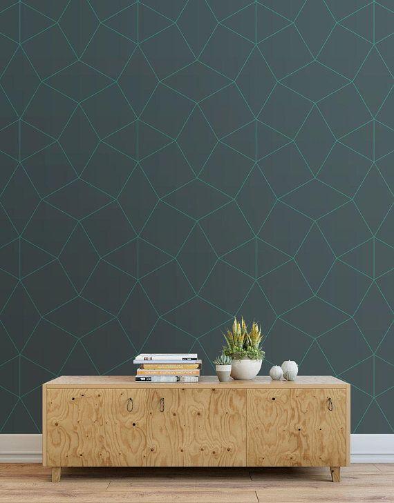 Open Boxes Peel And Stick Wallpaper Tiles Modern Wallpaper Tiles Dark Teal Wallpaper About Our Wallpaper Teal Wallpaper Wallpaper And Tiles Modern Wallpaper