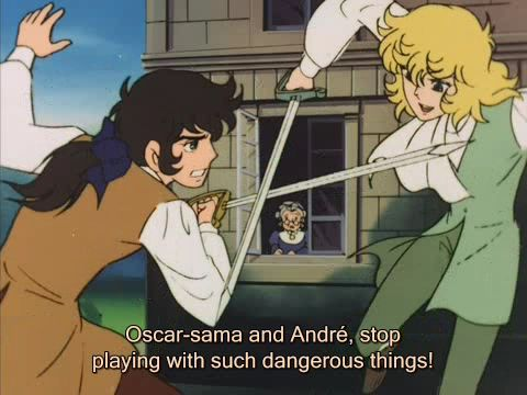 Oscar and André fighting (anime)