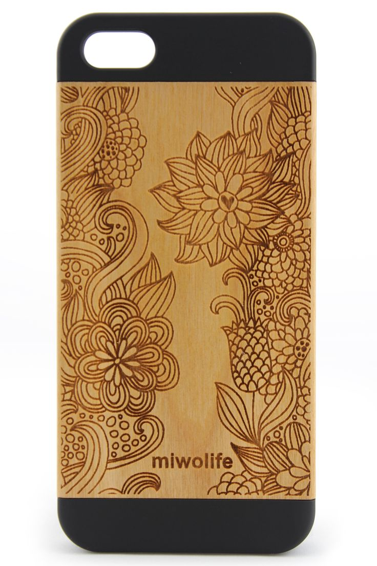 Flexible Insert for # iPhone 5, Refined Laser Engraved, Ultra Slim and Durable, Vintage Cherry Wood Case,Collision of Art and High Tech.#iPhone5 #wood #case #miwolife