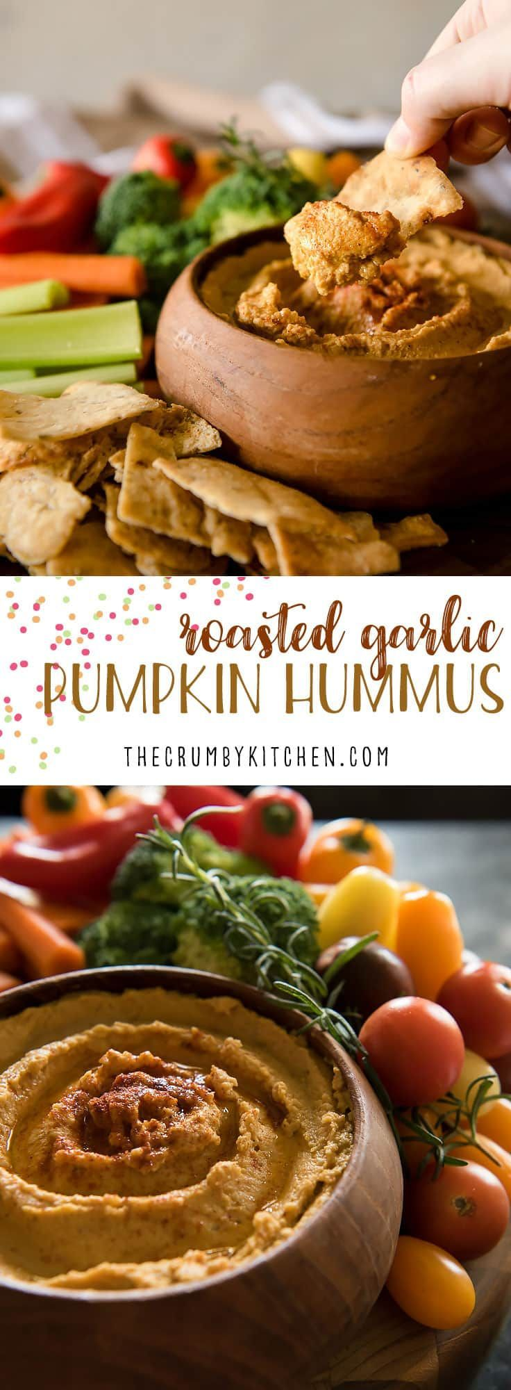 Everything you love about your favorite hummus with a little bit of fall added in - this savory Roasted Garlic Pumpkin Hummus takes just 5 minutes to make, and will please every palate! #hummus #pumpkin #roastedgarlic #appetizer #recipe #holiday #party