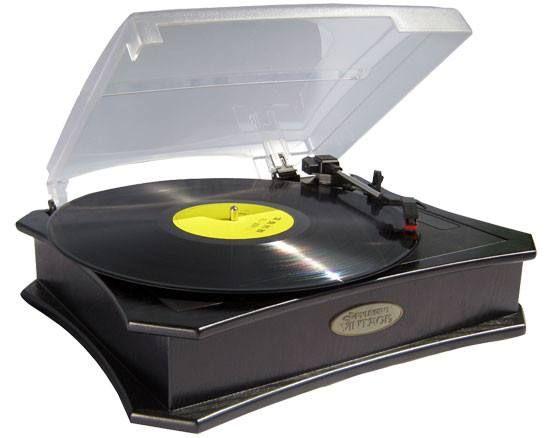 Retro Style Vinyl Turntable With USB-To-PC Recording (Black)