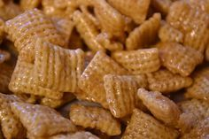 Caramel Chex Mix - Such an easy party favor/snack. The one in stores uses soy, so I'm so glad there is a recipe for it. I love caramel chex mix! I made it for work this week!