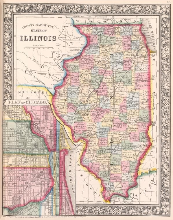 County Map of Illinois (1863) | Genealogy Mapping | County map, Map ...