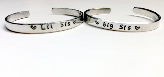 Bracelet set - Big Sis Lil Sis - handstamped bracelet set