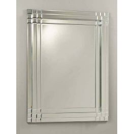 Beveled glass mirror that can be hung portrait or landscape.